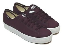 Keds Women's Triple Kick Leather Burgundy WH61666 Choose Size