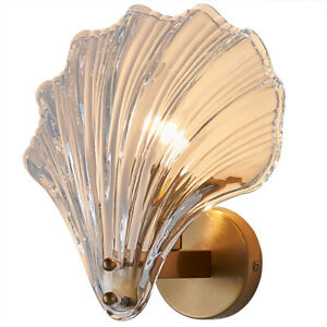 Glass Shell Wall Sconce, Brushed Brass, Modern Copper Flexible Bedside Wall Lamp