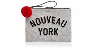 Kate Spade PWRU5907 Nouveau York Medium BELLA Pouch LIGHT CHARCOAL Grey NWT
