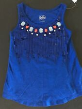 NWT JUSTICE GIRLS 7 TANK TOP SHIRT SPARKLY DIAMOND SEQUIN RED BLUE PATRIOTIC