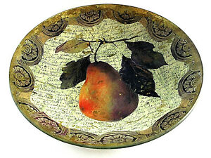 Laurel Wilder 2005 Pear Decoupage Bowl Signed & Numbered With Iron Stand XLNT