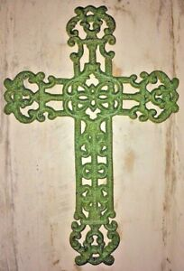 FRENCH GARDEN CROSS, Antique Green Verdigris Patina Finish, decorative cast iron