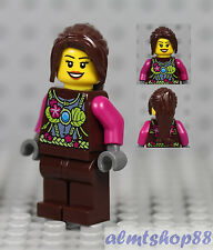 LEGO - Girl Kids Female Minifigure w/ Magenta Lime Flower Top & Dark Brown Hair