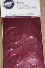 50pc Metallic Pink Hearts Wilton Wedding Invitation Envelope Seals 528