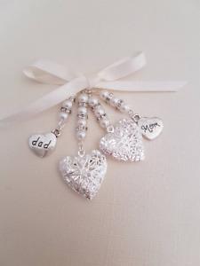 Wedding Bouquet Charm Double Silver Filigree Locket mom & dad  ivory pearls