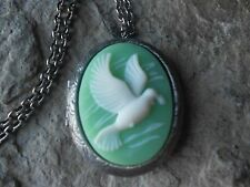 WHITE DOVE CAMEO ANTIQUED SILVER PLATED LOCKET - MINT GREEN, BIRD, XMAS, UNIQUE