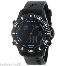 NEW-NAUTICA BLACK RUBBER BFD ANALOG DIGITAL,DUAL TIME,LIGHT,CHRONO WATCH-N19594G