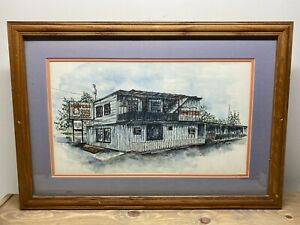 Vintage Hooters Restaurant Decor Picture Sign Painting Original Evansville, IN