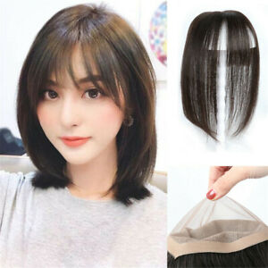 100% Virgin  Human Hair Mono Women Topper Hairpiece Women Toupee With Hair Bang