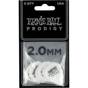 Ernie Ball 9202 - Sachet de 6 médiators Prodigy blanc - 2.00mm