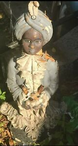 Beautiful Antique cement Blackamoor Black Moor Boy Statue Light Lamp