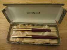VINTAGE CONWAY STEWART 69 MAROON FOUNTAIN PEN 14CT NIB MATCHING PENCIL SET BOXED