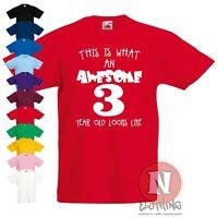 Awesome 3 year old Children Kids t-shirt 3rd birthday printed teeshirt