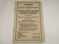 Vtg Orig. Baltimore Ohio B&O Railroad Maintenance Equip. 1942 Labor Agreement