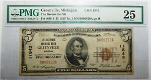 $5 1929 TY-1 FR#1800-1 PMG VF25 GREENVILLE, MICHIGAN NATIONAL CURRENCY