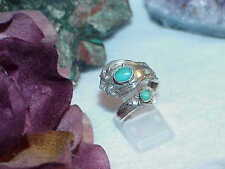 """Towle Sterling Silver Spoon Ring 2 Turquoise Stones """"Old Master 8.4Gr Size 7 - 8"""