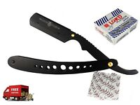100 BLADES BLACK BARBER STRAIGHT SHAVING RAZOR CLASSIC CUT THROAT FOLDING SALON