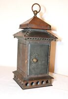 rare 1800's antique copper brass bronze red glass railroad oil lantern lamp