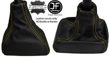 YELLOW STITCH REAL LEATHER GEAR GAITER FITS VAUXHALL OPEL CORSA B TIGRA A 93-00