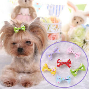 6 PCS DOG  PUPPY HAIR CLIPS HAIR BOW TIE FLOWER BOWKNOT HAIRPIN PET SMART