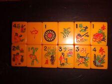 Antique Mahjong Set Butterscotch Bakelite Tiles 5 Racks