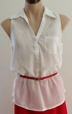 IVORY WHITE Sleeveless PEPLUM Waist Career Work Blouse TOP w Belt size M