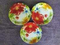 """Pier 1 Amelia Salad Plates Floral Flowers 8.25"""" Set of 3"""
