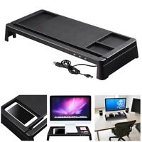Monitor Rise Stand Desktop Storage Organizer Computer Laptop Office w/ USB Ports