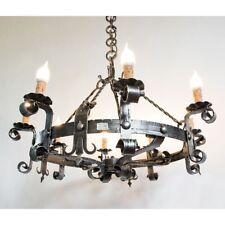 Lampadario LAMPIONE lanterna in ferro battuto forgiato 8 luci diametro 80 cm