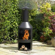 Black Steel Burner with Built in Log Store Outdoor Garden Furniture