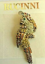 White Gold Cockatoo brooch  Rucinni with Swarovski Crystals Gold plated.