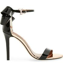 Ted Baker Black Leather Party Sandals Size 6 EU 39 Bow Heeled Shoes New In Box