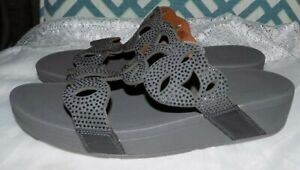 NEW 11 FitFlop FIT FLOP ELORA CRYSTAL SLIDES PEWTER GRAY WEDGE SLIDE SANDALS $90