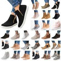 Women Hidden Wedge Mid Heel Loafers Sneakers Platform Slip On Pumps Booties Shoe