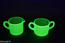 Vintage Vaseline green glass Cream and Sugar Set