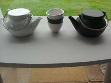 2 X Matching black & white Japanese Chinese teapots & 3 cups Typhoon STONEWARE