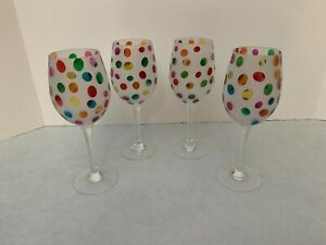 Set of (4) - Pier 1 - Color Dot Wine Glass - Hard to Find Discontinued Confetti