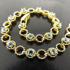 FSA368 GENUINE 18K YELLOW GF GOLD TOPAZ ANTIQUE DESIGN TENNIS BRACELET BANGLE