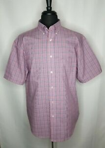 Roundtree Yorke TravelSMART Short Sleeve Soft Red Blue Casual Business Mens XL