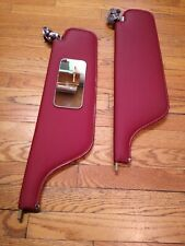 1964-68 Full Size Cadillac Buick GM RED Sun Visors + Mirror - EXCELLENT SHAPE!