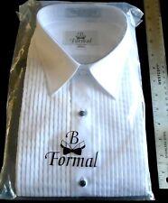 B Formal Pleated Tuxedo Shirt - Laydown Collar – Size L 34/35 White
