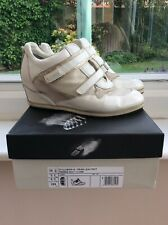 Ladies Wedge Leather Trainers - Breathable - Geox - Ivory - Size UK 6.5/EUR 39.5