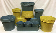 Metal Planter Pots Yellow & Blue Embossed Daisy Design Set 12 Round Oval Oblong