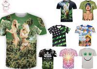 Weed Marijuana 3D T-shirt Green Smoke Cannabis Funny Tee Men Women Size S - 7XL