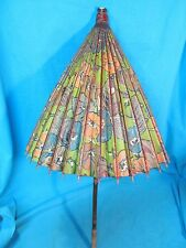 VINTAGE HAND PAINTED ORIENTAL BAMBOO PARASOL UMBRELLA CLOTH BACKED RICE PAPER