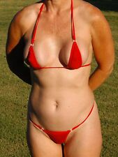 *NEW* RED SEXY MINI MICRO THONG G-STRING BEACH BIKINI, SM/MED - USA SELLER