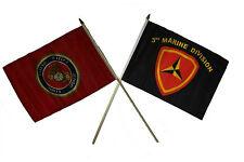 "12x18 12""x18"" Wholesale Combo Marines Red & 3rd USMC Marine Division Stick Flag"
