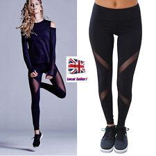 UK Womens Sports Gym Yoga Running Fitness Leggings Pants Athletic Mesh Trousers