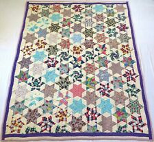 Antique 1920's Hand Stitched Purple Feed Sack Six Point Star Quilt 78x63