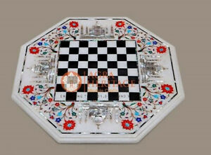 Marble Chess Board Coffee Table Top Inlay Taj Mahal Floral Design Living Decor